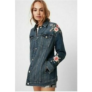 Express Floral Embroidered Denim Boyfriend Jacket